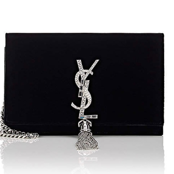 Saint Laurent KATE VELVET BAG W/ CRYSTAL LOGO HrLHDqC9c